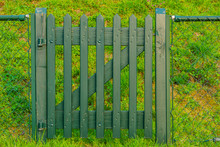 Green Wooden Gate, Entry To The Garden Or Paddock