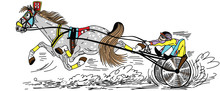 Cartoon Harness Horse Racing . Fast Running Trotter Pulling A Two Wheeled Cart A Sulky  Occupied By A Driver . Side View Vector Illustration