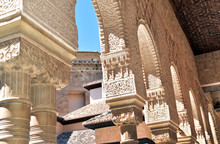 Arches And Columns Of Islamic Styling, Courtyard Of The Lions, La Alhambra, Granada, Andalucia, Spain