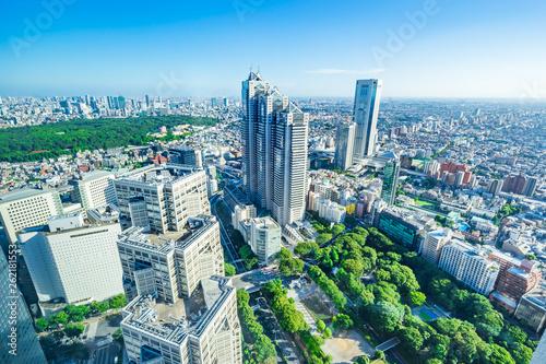 Poster Bleu skyline aerial view of shinjuku in Tokyo, Japan
