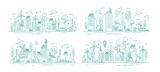 Fototapeta Miasto - Bundle of urban landscapes with eco city using modern ecologically friendly technologies - wind power, solar energy, electric transportation. Monochrome vector illustration in line art style.