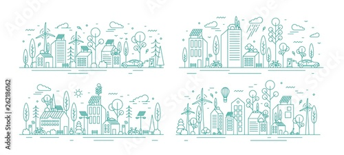 Obraz Bundle of urban landscapes with eco city using modern ecologically friendly technologies - wind power, solar energy, electric transportation. Monochrome vector illustration in line art style. - fototapety do salonu
