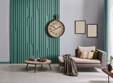Modern Decorative Wall, Grey Wall Clock And Frame Style, Middle Table And Grey Sofa Style Frame.