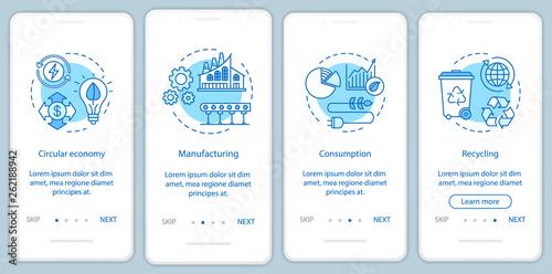 Fotografía  Circular economy onboarding mobile app page screen vector template