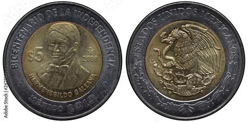 Cuadros en Lienzo Mexico Mexican bimetallic coin 5 five pesos 2008, subject Bicentenary of Indepen