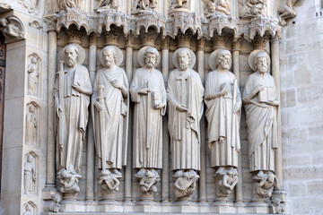 Notre dame paris cathedral statue sculpture and roof before fire