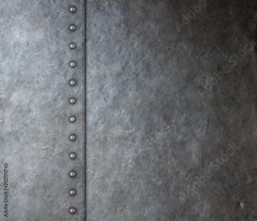 Keuken foto achterwand Leder armor metal plate with rivets background 3d illustration