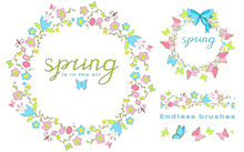 Spring Is In The Air. Lettering. Floral Wreath With Butterflies And Ribbon. Endless Floral Brushes. Butterfly Isolated On A White Background. EPS 10