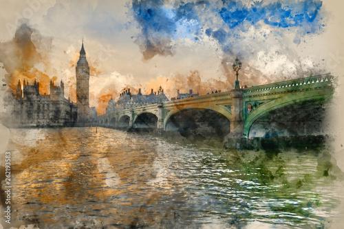 Fotografía  Watercolor painting of Big Ben and Westminster Bridge during Winter sunset
