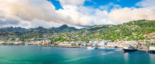 Panorama Landscape Of Kingstown Harbor, St Vincent And The Grenadines.