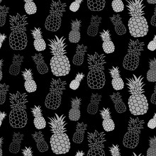 Pineapple Seamless Pattern, Hand Drawn. Textile Print For Apparel. Realistic Handmade Line Ananas. Vector Illustration Isolated On White Background.