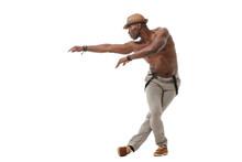 Stylish Elegant Black Male Dancer Isolated On White Background.