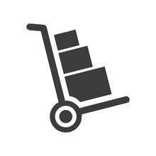 Handcart Icon On White Backgro...