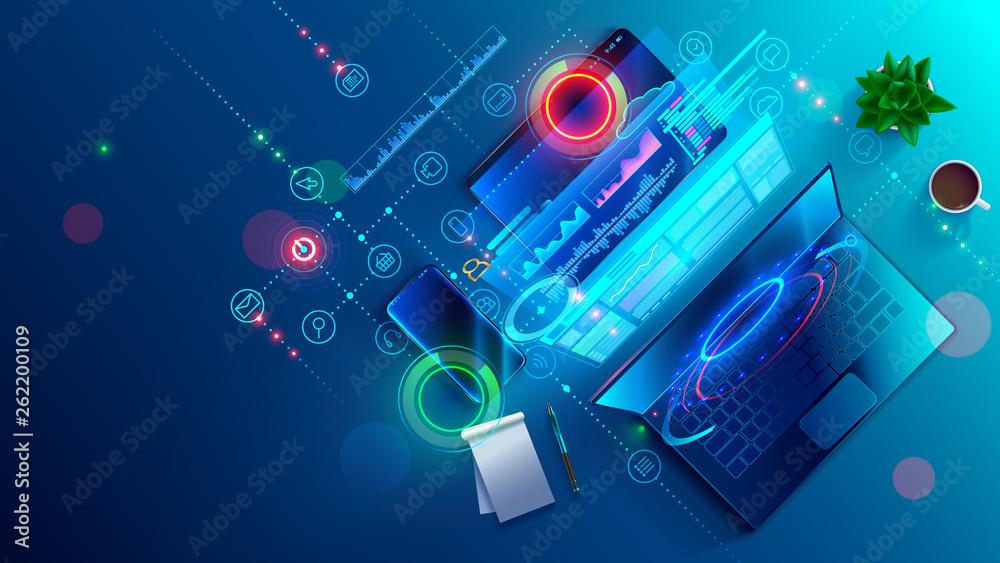 Fototapeta Creating software and website for different digital platform desktop pc, laptop, tablet, mobile phone. Development, design and coding web and offline app. Designing interface and code of programs.