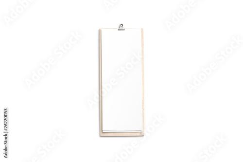 Fényképezés  Blank cafe menu, wooden board mock up, 4 inch, top view, 3d rendering