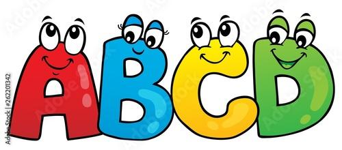 Deurstickers Voor kinderen Cartoon ABCD letters theme 1