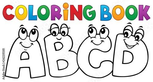 Deurstickers Voor kinderen Coloring book cartoon ABCD letters 1