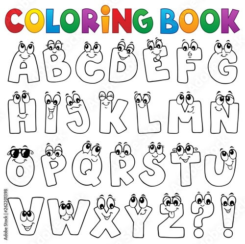Foto op Aluminium Voor kinderen Coloring book cartoon alphabet topic 1