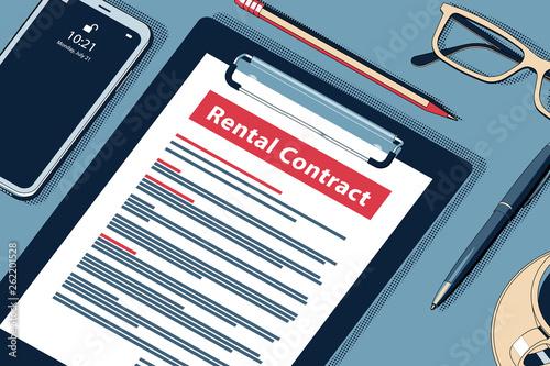 Canvastavla Rental Contract Concept. Vector Halftone Isometric Illustration.