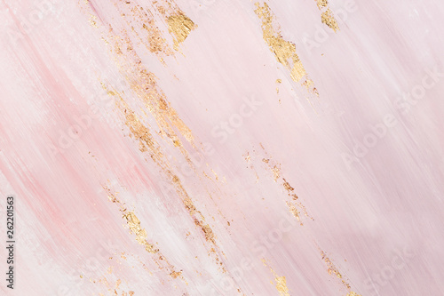 Delicate pink marble background with gold brushstrokes. Place for your design - fototapety na wymiar