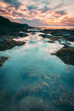 Beautiful Rockpools At Sunset,...