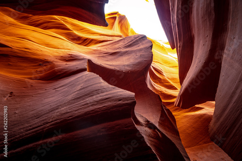 Garden Poster Brown Curved sandstone formations at Antelope Canyon - travel photography