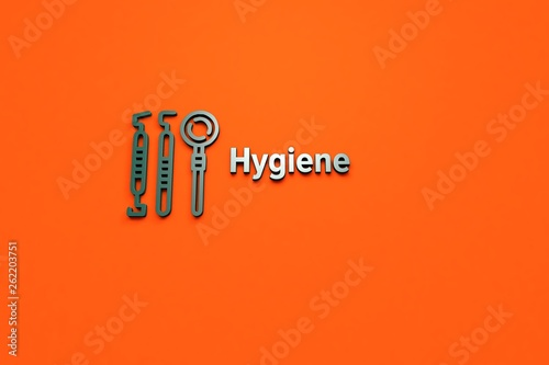 Fotografía  Illustration of Hygiene with green text on orange background