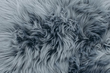 Close Up Shot Of Abstract Fur Background. Grey Artificial Fur Texture