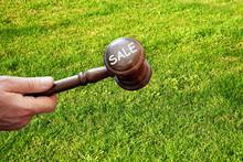 Sale  Land,wooden Gavel  On La...
