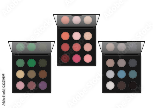 Obraz na plátne Make-up eyeshadow palette, realistic illustration