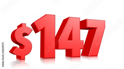 Fotografía  147$ One hundred forty seven price symbol