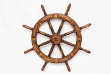 Steering Hand Wheel Ship On White Background