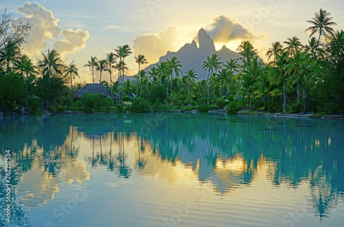 Obraz na płótnie View of the Mont Otemanu mountain reflecting in water at sunset in Bora Bora, Fr
