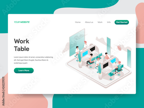 Photo  Landing page template of Work Table Illustration Concept