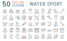 Set Vector Line Icons Of Water Sport.