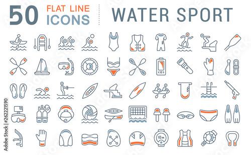 Fotografija Set Vector Line Icons of Water Sport.