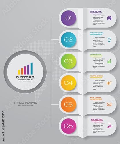 Tela  6 steps infographics chart design element. For data presentation.