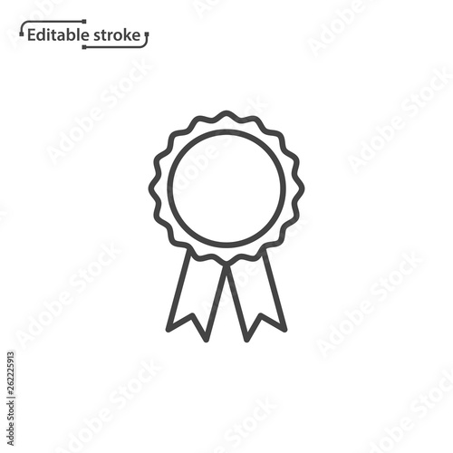 Photo Award rosette with ribbon vector icon. Editable stroke.