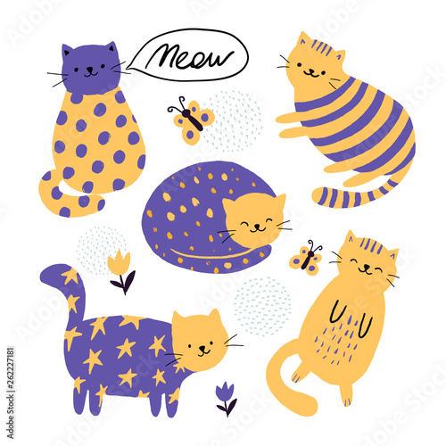 Set of cute cats Childish print. Vector children's illustration