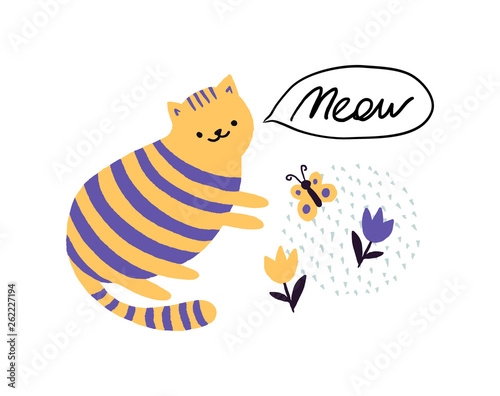 Cat says Meow. Childish print. Vector children's illustration