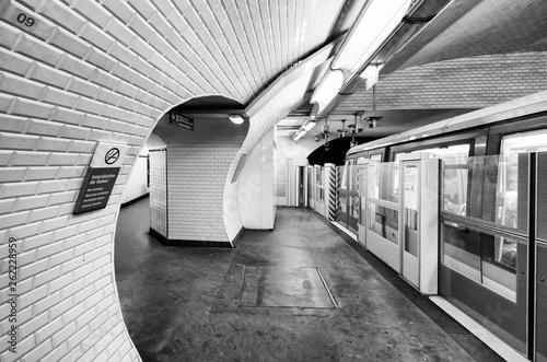 Interior of Subway Station in Paris. Metro train