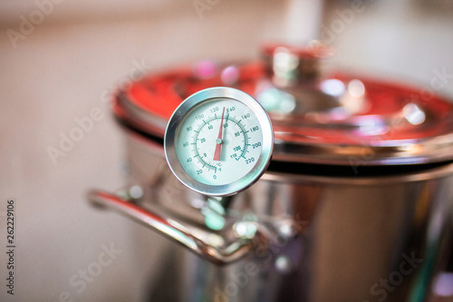 Beer wort starting to boil, Wort for Home Brew Wheat Beer. Canvas Print