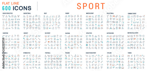 Set Linear Icons of Sport.