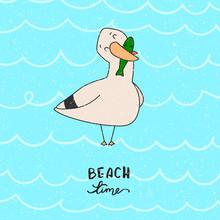 Gull. Beach Time. Vector Illus...