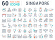 Set Vector Line Icons of Singapore.