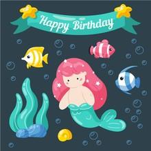 Cute Little Mermaid Birthday Card. Marine Life Cartoon Characters In Cute Doodle Style. Birthday Card Template.