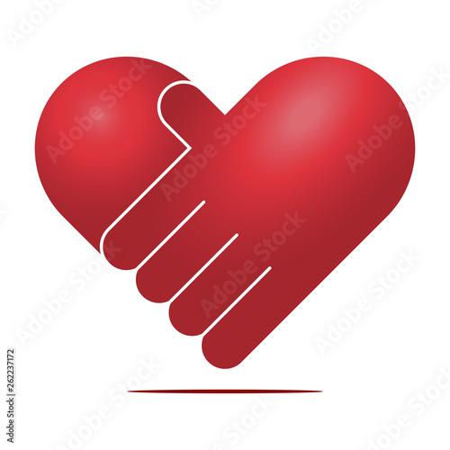 Fotografie, Obraz  Heart handshake vector icon. Charity heart symbol.