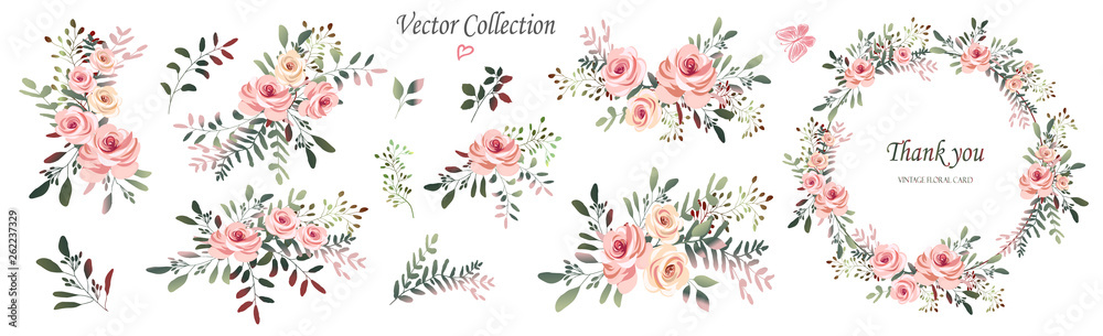 Fototapeta Vector. Wreaths.  Botanical collection of wild and garden plants. Set: leaves, flowers, branches, pink roses,floral arrangements, natural elements.