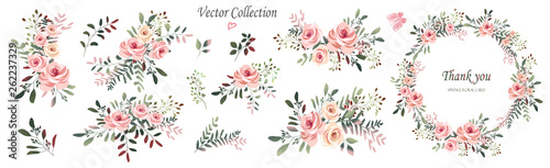 Vector. Wreaths. Botanical collection of wild and garden plants. Set: leaves, flowers, branches, pink roses,floral arrangements, natural elements.
