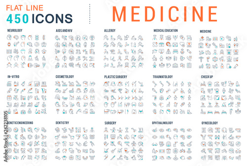Carta da parati Set Vector Line Icons of Medicine